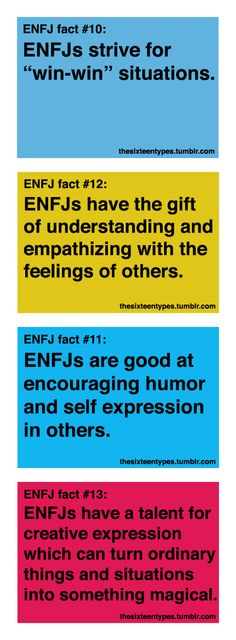 ENFJ's - I've taken the Jung test several times in the last 5 years, and I get ENFJ every time. Couldn't be more accurate...