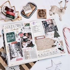 December bullet journal I love making holiday spreads in my bujo! My journal feels so festive! Art Journal Pages, Travel Journal Pages, Travel Scrapbook Pages, Journal Themes, Journal Stickers, Scrapbook Journal, Journal Layout, Art Journals, Journal Ideas