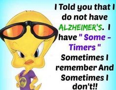 "I told you that I do not have Alzheimer's. I have ""Some-Timers"" Sometimes I remember. Cute Quotes, Sad Quotes, Funny Sayings, Bird Sayings, Lucky Quotes, Awesome Quotes, Movie Quotes, Emoji, Tweety Bird Quotes"