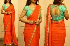 PV 3512 : Orange and blue Price : Orange out and out stone studded georgette sari finished with gold cut work border Unstitched blouse piece - Blue beads and zardosi maggam work blouse piece as shown in the picture For Order Gown Skirt, Saree Dress, Blouse Dress, Work Blouse, Orange Saree, Orange Blouse, Saree Styles, Blouse Styles, Wedding Saree Blouse Designs
