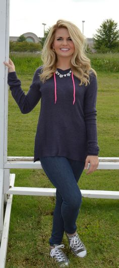 Contrast Draw-Cord Hoody from Haute Pink Boutique