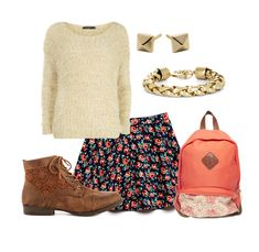 Cute Outfit Ideas of the Week - Back to School Fashion for Teen Girls, Summer Outfits, Back to School Outfit Ideas for teens girls - pair a sweater with a floral skirt, boots and back pack. Back School Outfits, Back To School Fashion, Girls School, School Style, Style École, Looks Style, Girl Style, Outfit Ideas For Teen Girls, Outfits For Teens