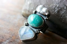 Turquoise, Moonstone, Pearl, Sterling Silver Cocktail Ring... I Dream In Color... on Etsy, $185.00