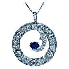 Art Deco Sapphire Diamond Gold Half Moon Pendant
