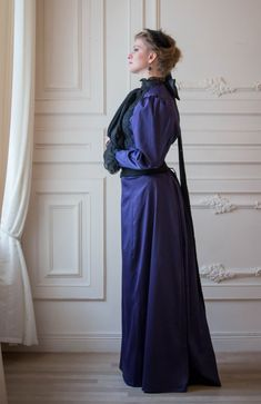 1890s Violet Dress Gilded Age Gown Leg of от FiorentinaCostuming