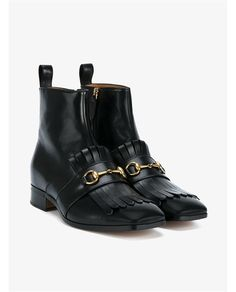 GUCCI Leather Tassel Boots With Horsebit. #gucci #shoes #boots