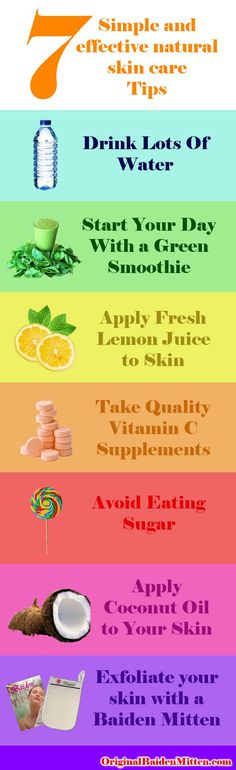 7 Simple and Natural Skin Care Tips. Find out more at http://originalbaidenmitten.com/7-simple-natural-skin-care-tips/ Baiden Mitten #skincare #beauty #baidenmitten