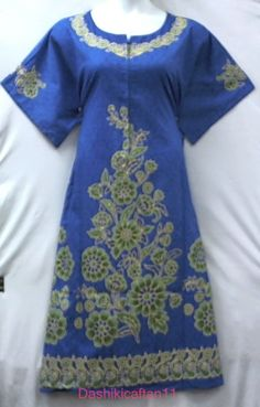 Women Hippi Dashiki Caftan House Vantage Dress Kaftan Lounger Gown Caftan Blue #Handmade #Dress #Casual