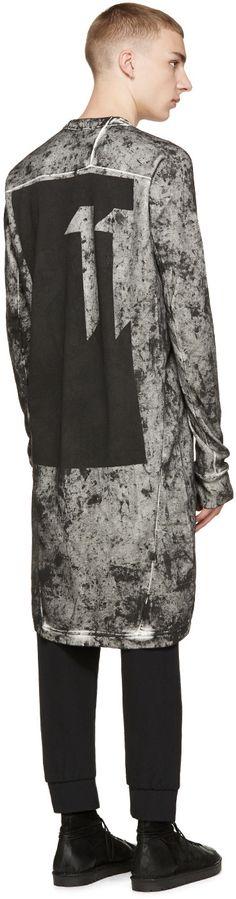 11 by Boris Bidjan Saberi Black   White Spattered Long T-Shirt Moda Pós- a2f84d2aaa6