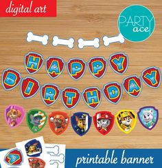 Paw Patrol Birthday Party Printable Banner Decoration Marshall Rocky Chase Rubble Everest Skye Zuma By Partyace