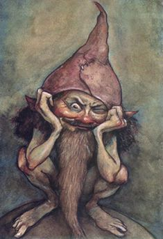 That Gnome, from The Faeries' Oracle, by Brian Froud and Jessica MacBeth Brian Froud, Magical Creatures, Fantasy Creatures, Duende Real, Evil Gnome, Philippine Mythology, Fairy Drawings, Kobold, Illustration