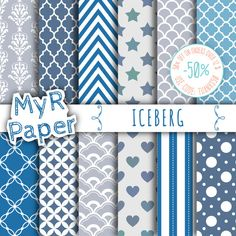 """Digital Paper: """"Iceberg"""" #Grey, #Blue, Light Blue and Fresh #White with chevron, polka dots, stripes, damask, quatrefoil, Stars, hearts  50% OFF ON ORDERS OVER 12 $ (OR NEARLY... #patterns #design #graphic #digitalpaper #scrapbooking #blue #printable #textures #grey #stars #hearts #white"""