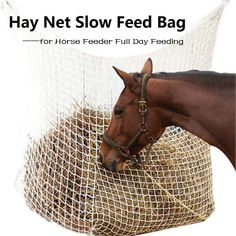Horse Riding Equipment - Hay Net Bag Slow Feed Bag for Horse Feeder Full Day Feeding Large Feeder Bag with Small Holes Equipment Nylon Rope Horse Slow Feeder, Buy A Horse, Feed Bags, Net Bag, Bones And Muscles, Horses For Sale, Horse Care, Saddles, Horse Riding