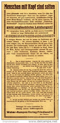 Original-Werbung/Inserat/ Anzeige 1920 - MENSCHEN MIT KOPF / WEBER-RUMPES VERLAG BRESLAU - ca. 220 x 100 mm
