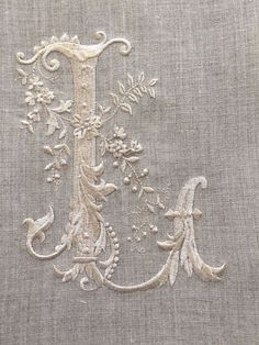Embroidered on Linen. Embroidery Monogram, Silk Ribbon Embroidery, White Embroidery, Embroidery Stitches, Embroidery Patterns, Machine Embroidery, Monogram Fonts, Monogram Letters, Monograms