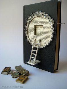 """books papers and things Book Paper Art Sculpture, Altered Book, A Book. This book sculpture has a poem of Emily Dickingson titled """"A Book"""", which says: There is no frigate like a Buch Design, Altered Book Art, Art Du Fil, Book Sculpture, Paper Book, Book Folding, Book Projects, Handmade Books, Book Journal"""