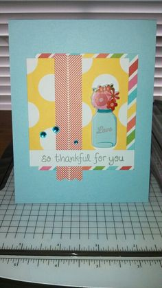 This is a card I made using Me & My Big Ideas journaling cards and sticker. The sentiment is from Lawn Fawn!
