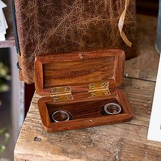 Natural Charm Personalized Pocket Size Wooden Wedding Ring Box - Garland Under