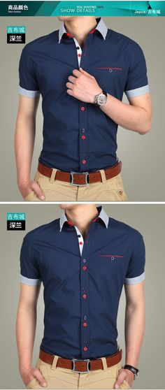 is blue, short sleeve, has white Frangas, red buttons and blueness, with neck