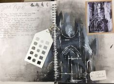 study after an artist by Chloe. AS External Assignment, St Mary's Catholic High School Sketchbook Layout, Gcse Art Sketchbook, Sketchbook Inspiration, Sketchbook Ideas, Sketchbooks, John Piper Artist, Artist Research Page, A Level Art, Scrapbook