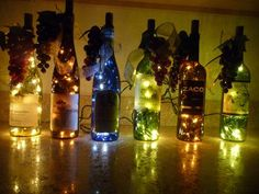 I love these wine bottles, they are pretty.  Thank goodness my brother-in-law drills the holes for the lights for me!!!