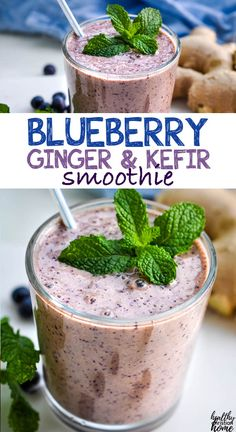 This yummy blueberry smoothie is blended with fresh ginger and probiotic-rich kefir or yogurt to boost your immune system. What better way to start your day? #smoothie #blueberry #kefir #blueberrysmoothie #smoothierecipe Easy Drink Recipes, Clean Eating Recipes, Easy Healthy Recipes, Healthy Drinks, Beef Recipes, Dinner Recipes, Healthy Eating, Cooking Recipes, Kitchen Recipes