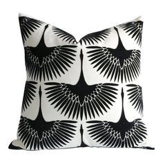 Offered is one New Velvet Art Deco pillow cover: Black Velvet Swans by designer Genevieve Gorder fly over a heavy ivory twill basecloth. Black And White Pillows, Black Throw Pillows, Velvet Pillows, Body Pillow Covers, 20x20 Pillow Covers, Pillow Inserts, Black Cushion Covers, Genevieve Gorder, Fabric Feathers