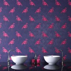 Terrifically tropical, the pink flamingo wallpaper is a classic of retro design that will liven up any room. The motif of bright pink flamingos contrasts vibrantly against a background of p. Pink Flamingo Wallpaper, Flamingo Print, Pink Flamingos, Flamingo Decor, Tropical Wallpaper, Kitchen Wallpaper, Of Wallpaper, Amazing Wallpaper, Bright Pink
