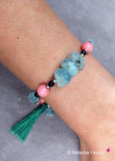 Aquamarina bracelet, coral, onyx, agate and tassel. OOAK © Natacha Fayard