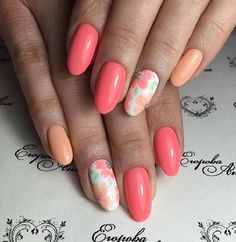 Sweet Spring Flowers. Enhance the look of your nails by painting the sweet spring flowers on the your nails in different colors. The trend of peach hues is in this spring, so why not try those?
