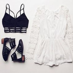 Image via We Heart It https://weheartit.com/entry/161879469 #black #boho #clothes #fashion #floral #indie #tumblr #white