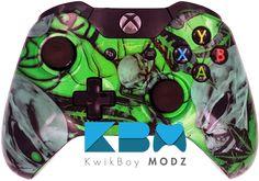 Green Mr.Creepy Skulls Xbox One Controller - KwikBoy Modz #MrCreepySkulls #XboxOne #XboxOneController #ModdedController #CustomController