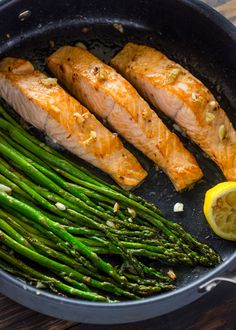 Healthy, Quick, and Flavorful. This one pan lemon-garlic salmon and asparagus is ready in under 10 minutes and is packed