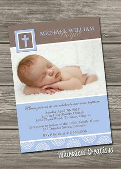 Christening Invitation (Digital File) Baptism Invitation - I Design, You Print Baby Boy Baptism, Baby Christening, Christening Invitations, Shower Invitations, Invitation Cards, Invites, Baby Boy Birth Announcement, Spa Birthday Parties, Thank You Photos