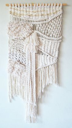 White macrame wallhanging by RanranDesign on Etsy