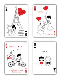 """Natalia Silva is raising funds for """"Love is."""" Playing Cards (Canceled) on Kickstarter!"""" is a beautiful deck of playing cards inspired by Love. Diy Playing Cards, Custom Playing Cards, Printable Playing Cards, Love Cards For Him, Stick Figure Drawing, Love Doodles, Russian Folk Art, Cute Love Cartoons, Romantic Cards"""