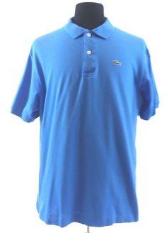 Lacoste Bright Blue Cotton Pique Polo Golf Shirt Size 6 Large Croc France Peru