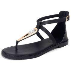 Black Rhinestone Gladiator Thong Sandals ($45) ❤ liked on Polyvore featuring shoes, sandals, rhinestone sandals, toe thongs, kohl shoes, black gladiator shoes and rhinestone thong sandals