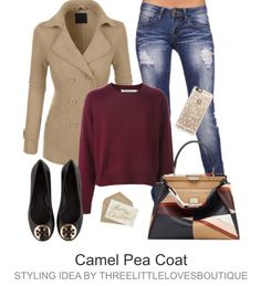 Gorgeous Classic Fully Lined Tapered Double Breasted Pea Coat - Camel