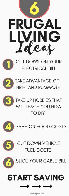 6 Frugal Living Ideas to Start Saving You Tons of Money Today #frugal #frugalliving #savemoney #moreforless