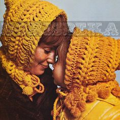 Vintage HAIRPIN lace HOODS crochet pattern (2 sizes) (70s) (PDF)