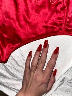 Diy Nails Manicure, Aycrlic Nails, Prom Nails, Blue Nails, Coffin Nails, Winter Nail Designs, Nail Polish Designs, Red Acrylic Nails, Red Nail
