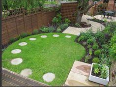 Circular lawn Circular Garden Design, Circular Lawn, Small Garden Design, Small Square Garden Ideas, Small Garden Plans, Small Garden Landscape, Garden Design Plans, Garden Modern, Back Gardens