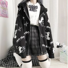 Grunge Outfits, Edgy Outfits, Pretty Outfits, Girl Outfits, Fashion Outfits, Alternative Outfits, Gothic Mantel, Kawaii Hoodie, Swaggy Outfits