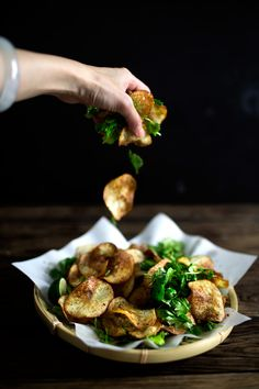 Potato chips and Thai herbs salad
