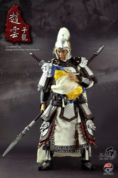 303 Toys Zhao Yun from Romance of the Three Kingdoms. He's holding Adou (Liu Bei's son) from the Battle of Changban.