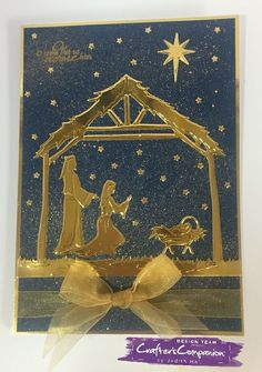 Side fold card made using Sara Signature Traditional Christmas collection – Away in a manger dies Designed by Judith Hall. Fall Cards, Xmas Cards, Crafters Companion Christmas Cards, Craft Supplies Uk, Christmas Nativity, Christmas Inspiration, Christmas Traditions, Winter Holidays, Shadow Box