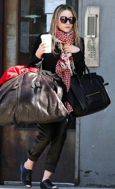 MARY-KATE IN NYC | GRAPHIC SCARF, LEATHER PANTS + CAP-TOE OXFORDS