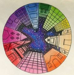 Objective: Students will create a color wheel using one point perspective, accur. - Objective: Students will create a color wheel using one point perspective, accurate color placement - Color Wheel Art, Color Wheel Lesson, Color Wheel Projects, 6th Grade Art, Grade 1, Perspective Art, One Point Perspective, Ecole Art, Art Lessons Elementary