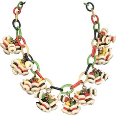 Vintage Celluloid Chain Dangle Colorful Funky 1920s Necklace